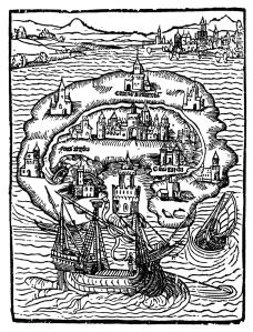 Grabado de la Isla de Utopía de la primera edición de 1516.
